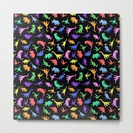 Fun Dinosaur Pattern (Black) Metal Print