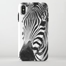 Black and white zebra illustration iPhone Case