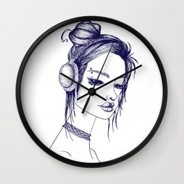 Suicide Girl Sketch Wall Clock