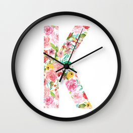 K botanical monogram. Letter initial with colorful watercolor flowers Wall Clock