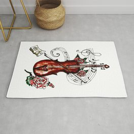Brown Violin with Notes Rug