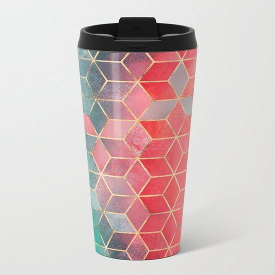 Rose And Turquoise Cubes Metal Travel Mug