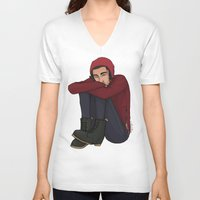 zayn V-neck T-shirts featuring Comfy Zayn by Ashley R. Guillory