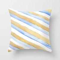 stripe Throw Pillows featuring Stripe by Louise Kjeldsen