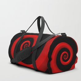 Red Spiral on Black Background Duffle Bag