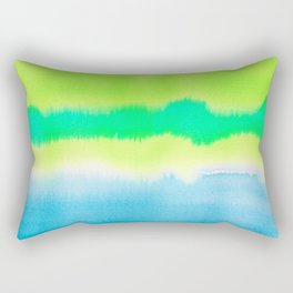 Watercolor tie dye wash in blues and greens Rectangular Pillow