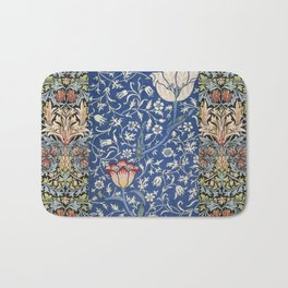 William Morris Victorian blue flowers Bath Mat