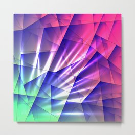 Bright glare of crystals on irregularly shaped blue and violet triangles. Metal Print