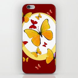 RED & YELLOW BUTTERFLIES &  YELLOW RING BURGUNDY ABSTRACT ART iPhone Skin