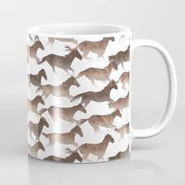 Running Watercolor Horses Brown Coffee Mug