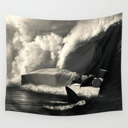 Sleeping with Sharks Black and White Wall Tapestry