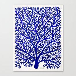 Fan Coral – Navy Canvas Print