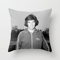 70s Throw Pillows featuring Johnny 70s by SheilasWogsPoofters