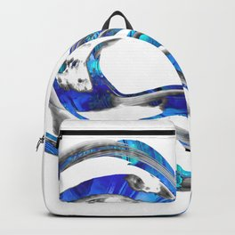 Blue And White Abstract Art - WaveBlue And White Modern Art - Wave 3 - Sharon  3 - Sharon Cummings Backpack