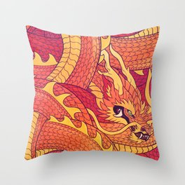 Coiled Dragon Throw Pillow
