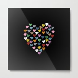 Distressed Hearts Heart Black Metal Print