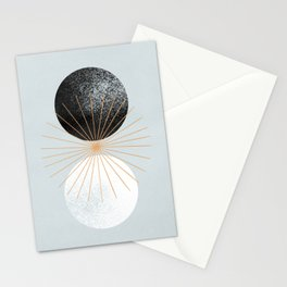 Abstract sun day and night made with geometrical shapes Stationery Cards