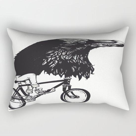 Black Bird Riding Rectangular Pillow
