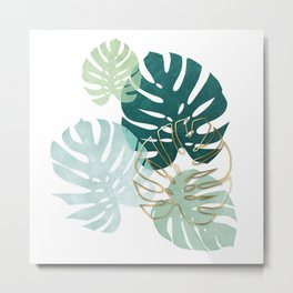 Tropical minimal / green, turquoise and gold monstera Metal Print