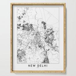 New Delhi White Map Serving Tray
