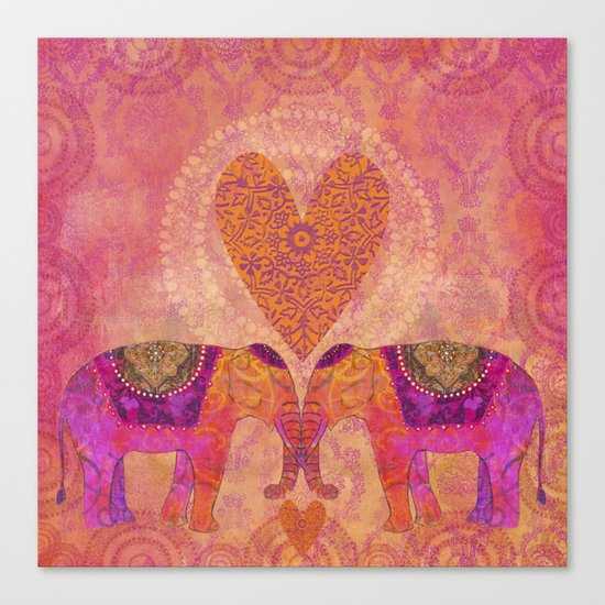 Elephants in Love with heart Canvas Print