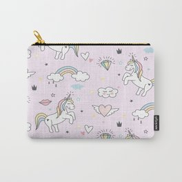 Unicorn & Rainbows Light Pink Carry-All Pouch