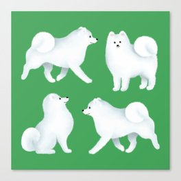 Samoyed Pattern (Green Background) Canvas Print