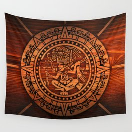 Aztec Logo On Wood Wall Tapestry