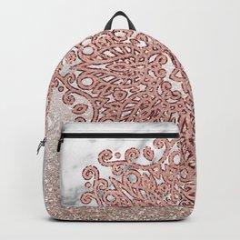 Rose gold mandala marble glitter ombre Backpack