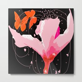 Creativity play - butterflies and flowers on a black background Metal Print