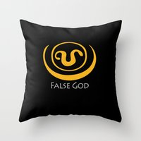 stargate Throw Pillows featuring False God. Inspired by Stargate SG1 - The symbol of Apophis as worn by Teal'c by hypergeek