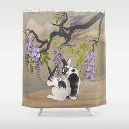 Two Rabbits Under Wisteria Tree Shower Curtain
