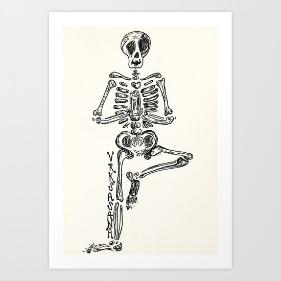 """Vrksasana"" Skeleton Print Art Print"