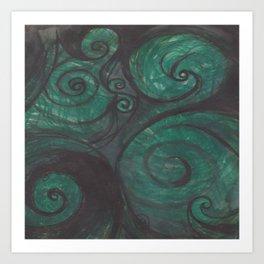Swirl (black and green) Art Print