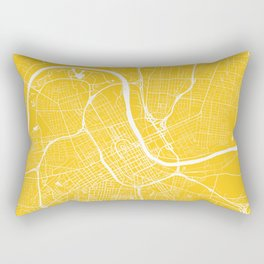 Nashville, Tennessee, City Map - Yellow Rectangular Pillow