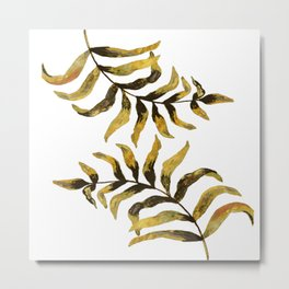 Gold Exotic Palm Leaves - Tropical Design Metal Print