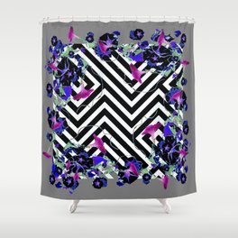 Geometric  black-White Morning Glories Grey Pattern Garden  Art Shower Curtain
