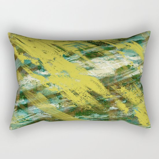 Hidden Meaning - Abstract, oil painting in yellow, green, blue, white and brown Rectangular Pillow