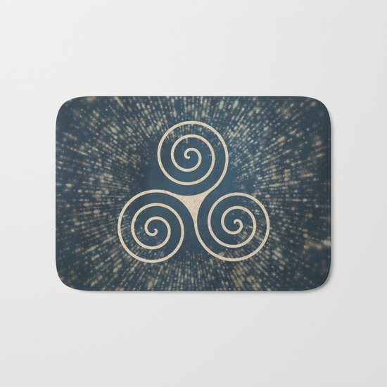 Triskelion Golden Three Spiral Celtic Symbol Bath Mat