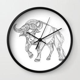 African Buffalo Charging Doodle Wall Clock