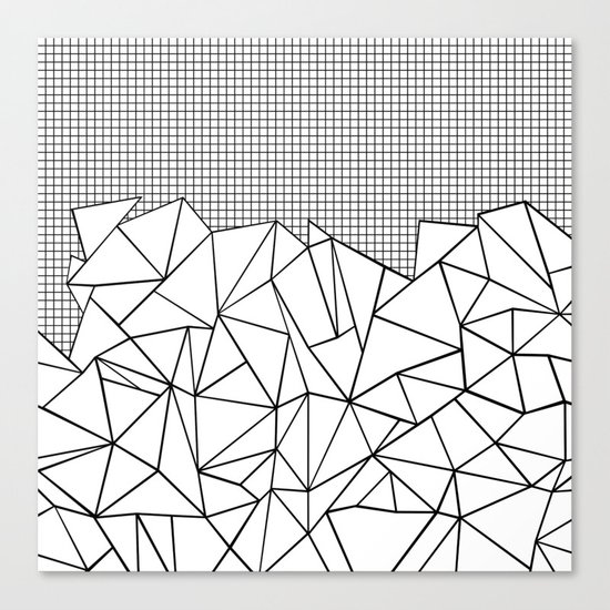 Abstract Outline Grid Black on White Canvas Print