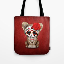 Red Day of the Dead Sugar Skull Cheetah Cub Tote Bag
