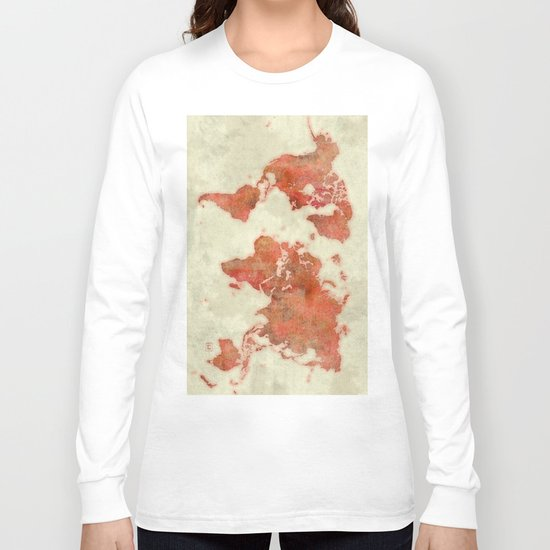 World Map Red Long Sleeve T-shirt