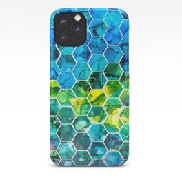 Hexagon alcohol ink iPhone Case