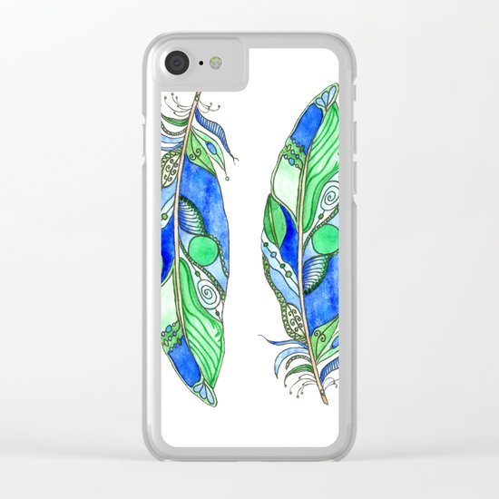Bohemian Spirit Feathers - Blue & Green Clear iPhone Case