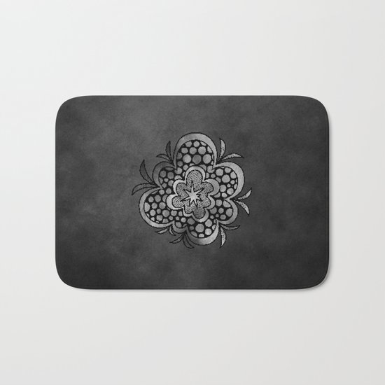 timespaceflower (black and white) ( HQ pixel ) Bath Mat