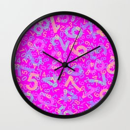 Modern Design with random colorful numbers with shadow edges on a pink background Wall Clock