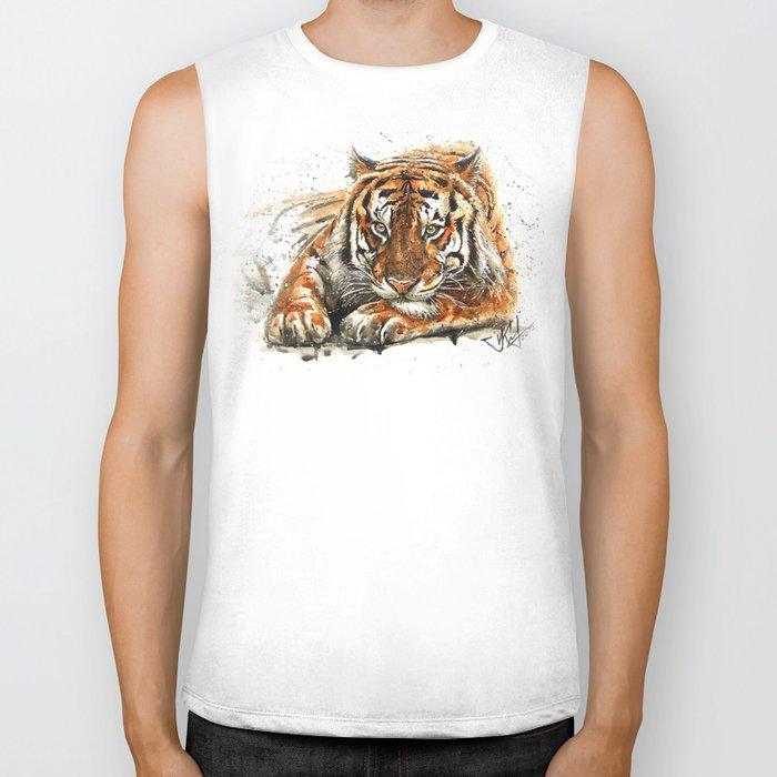 Tiger watercolor Biker Tank