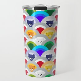 Japanese Wave Pattern cat Rainbow Travel Mug