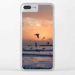 Sunrise on the beach Clear iPhone Case
